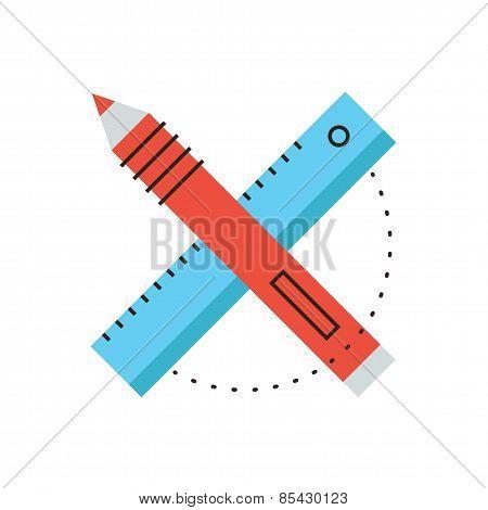 Design Tools Flat Line Icon Concept