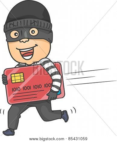 Illustration of a Thief Running While Carrying a Large Credit Card