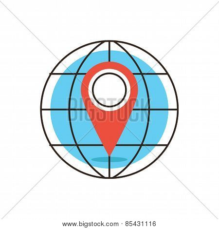 Global Location Flat Line Icon Concept