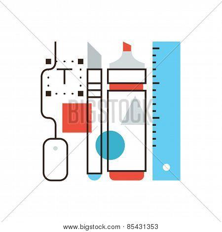 Designer Tools Flat Line Icon Concept
