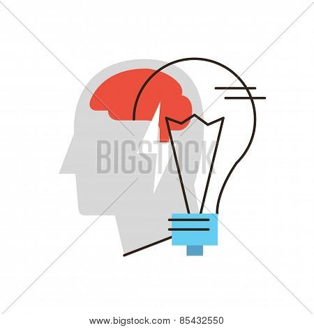 Business Ideas Flat Line Icon Concept