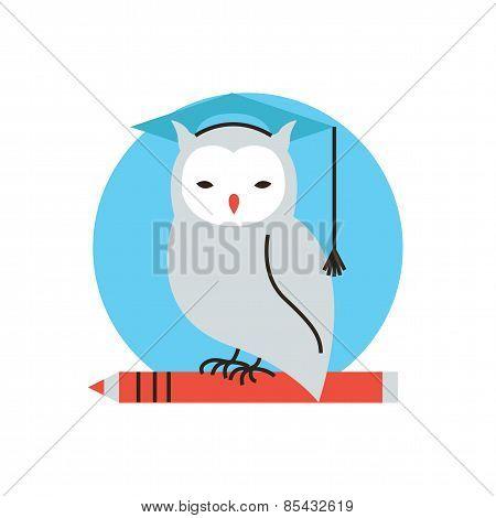 Wisdom Owl Flat Line Icon Concept
