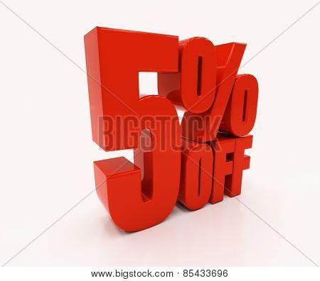 5 percent off. Discount 5. 3D illustration