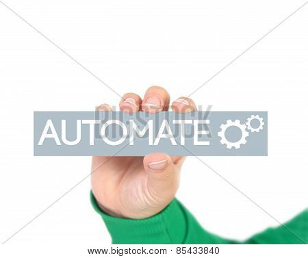 business process automation diagram on grey tag poster