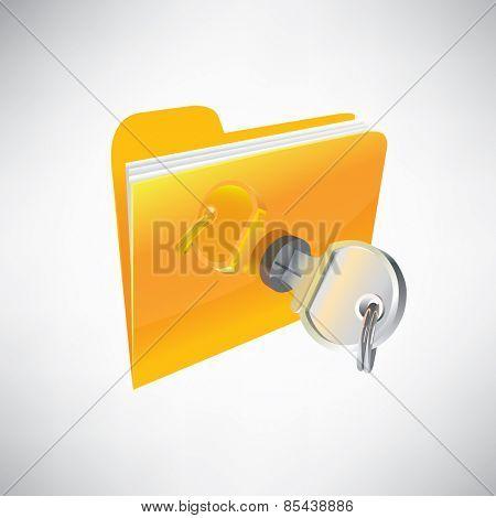 Stock illustration. Icon folder locked with a key