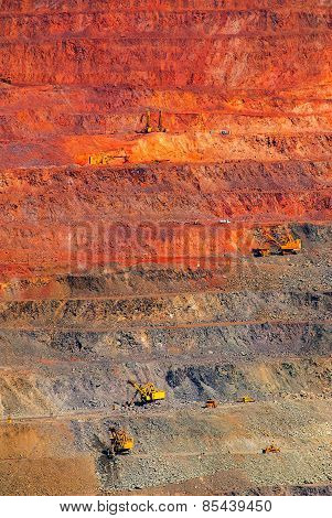 iron ore open pit mining quarry red brown poster