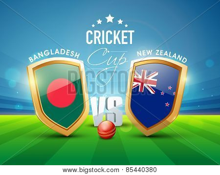 Bangladesh Vs New Zealand Cricket match concept with glossy shield of their countries flags.