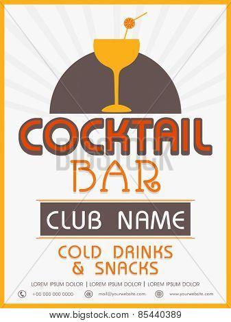 Vinatge menu card design of Cocktail Bar for club, pub and night beer party.