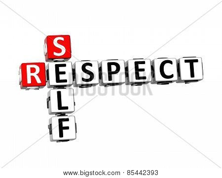 3D Crossword Self Respect On White Background