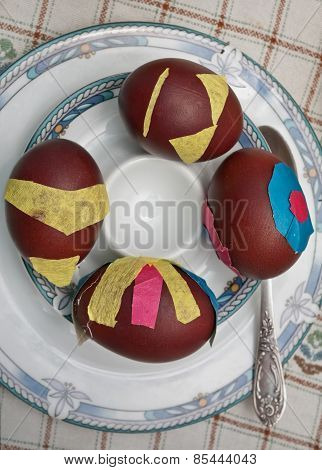 colored Easter eggs with onion skin