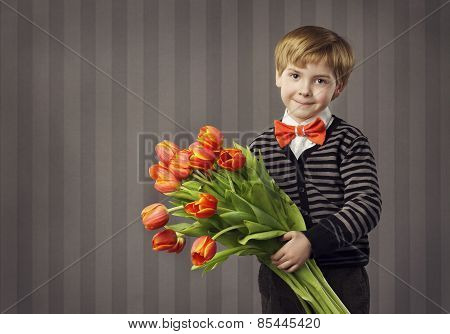 Little Child Boy Giving Flowers Bouquet, Handsome Kid Greeting Red Tulips Bunch, Retro Style