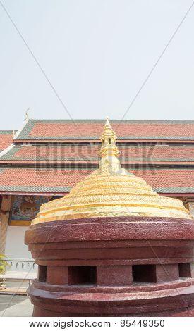 Mount Meru Model At Buddism Temple In Lamphun, Thailand