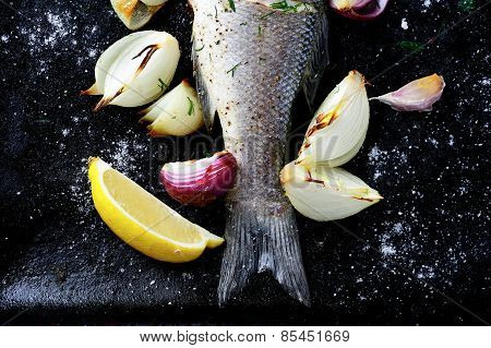 Fried Fish On A Baking Sheet