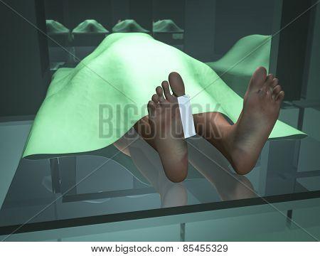 Body in morgue 3d render in blender 3d poster