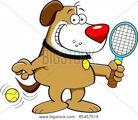 Cartoon dog playing tennis.