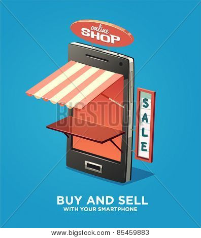 Buy and sell with your smartphone. Vector illustration.