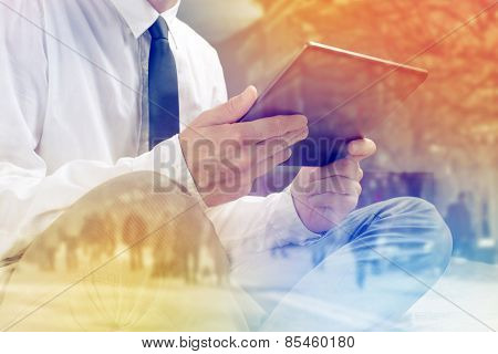Lonely Businessman With Digital Tablet Computer In Hotel Room