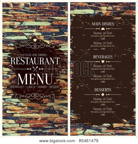 Restaurant menu design on stones background