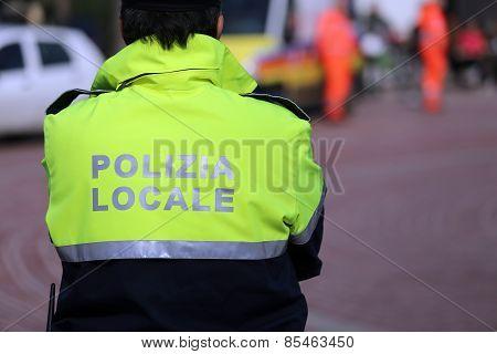 Italian Policeman Of Local Police Check The City