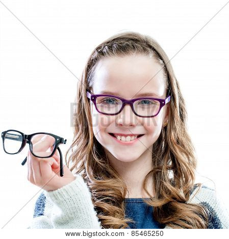 Girl Holding Glasses In Hand.