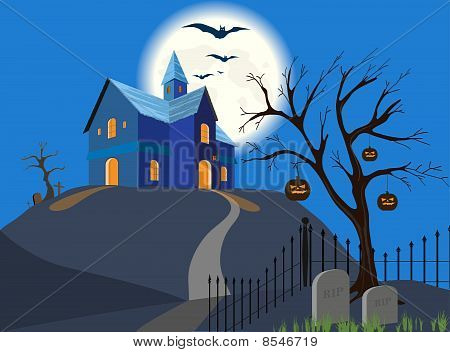 Halloween pumpkin and house. Vector.