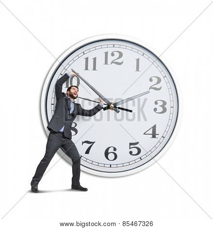 emotional businessman trying to stop a time. isolated on white background
