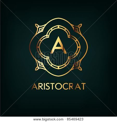 Vector Frame. Geometric Luxury Vintage Line Design Style for Hipster Art. Art Deco Monogram and Emblem Elements. Copy Space for Text.