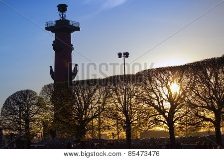 Russia. Petersburg. An arrow of Vasilevsky island and Rostral columns. poster