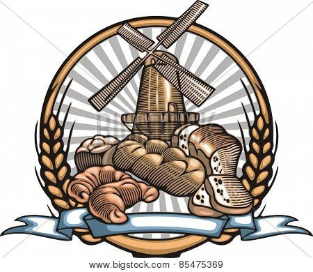 Vector illustration of a windmill in retro woodcut style.