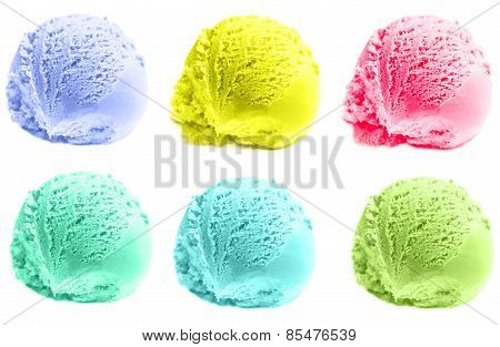 Isolated Scoops Of Ice Cream Isolated Over White Background. Mixed Scoops Of Green Tea, Mint,  Vanil