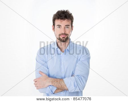 one guy with black goatee in casual clothes poster