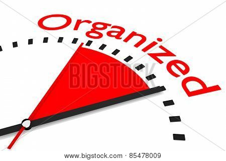 Clock With Red Seconds Hand Area Organized Illustration