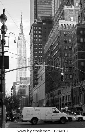 New York Street Scene - Black and White