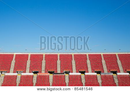 empty red seats in a spanish football stadium