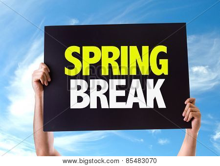 Spring Break card with sky background