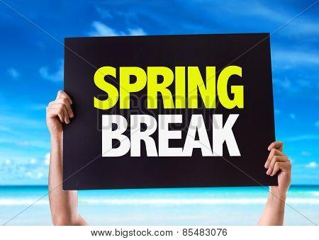 Spring Break card with beach background