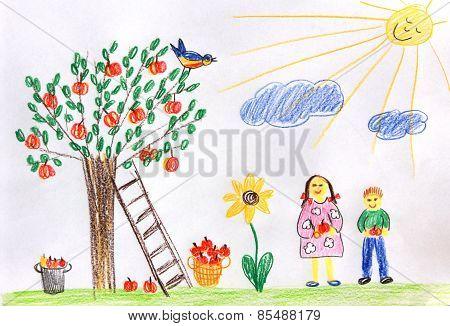 Children In A Autumn Garden - Children Drawing