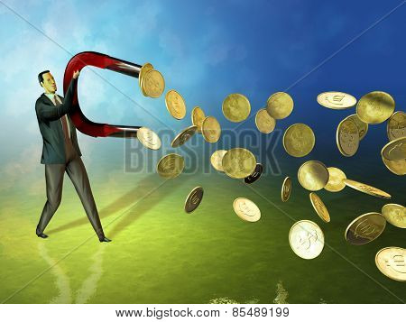 Businessman using a magnet to attract coins. Digital illustration.