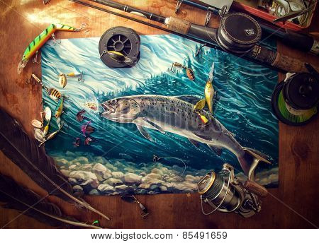 Illustration about fishing, surrounded by fishing accessories.