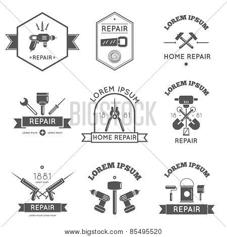 Home Repair Tools Labels Flat
