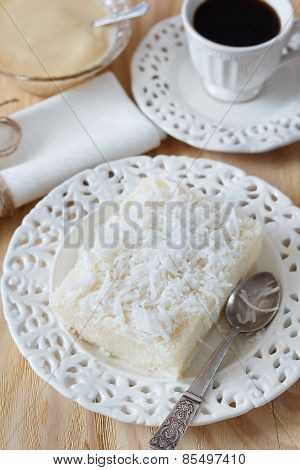 Sweet Couscous (tapioca) Pudding (cuscuz Doce) With Coconut, Coffee And Condensed Milk