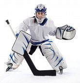 A young female ball hockey goalie in a ready position on a white background. poster