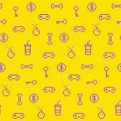 Seamless oldschool gaming inspired pattern game icons achievements 90s background poster