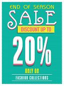 End of Season Sale poster, banner or flyer design with discount offer only on fashion collection.  poster