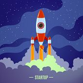 Startup concept with flat cartoon stylized rocket launch poster vector illustration poster