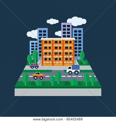 Urban landscape. Flat design vector