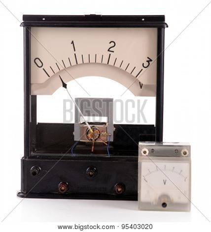 Vintage voltmeter isolated on white