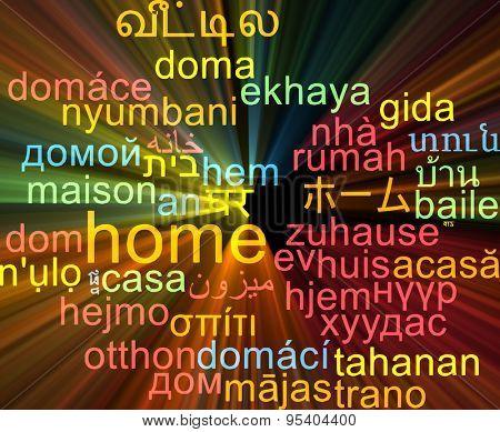 Background concept wordcloud multilanguage international many language illustration of home glowing light