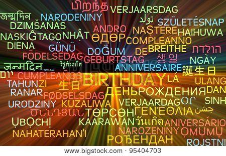 Background concept wordcloud multilanguage international many language illustration of birthday