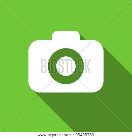 photo camera flat icon photography sign original modern design green flat icon for web and mobile app with long shadow
